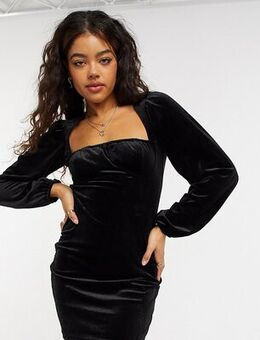 Exclusive velvet sweetheart volume sleeve mini dress in black