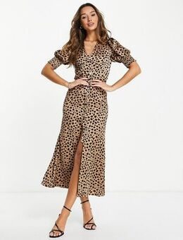 Lindos button maxi dress in leopard print-Brown