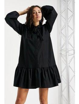Poplin chuck on shirtdress in black
