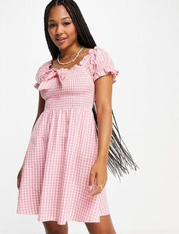 Of the shoulder mini dress in pink gingham