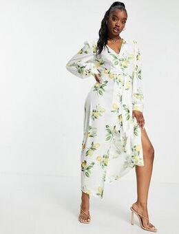 X Stacey Solomon tie detail midi dress in summer lemon print-Multi