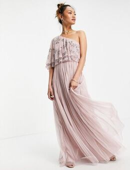 Asymetirc embellished top maxi dress in frosted pink