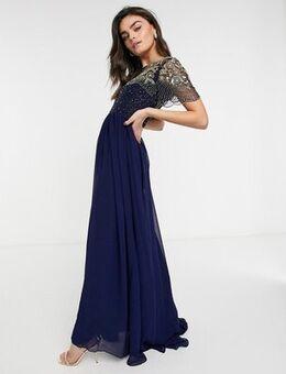 Vigos Lounge Raina embellished maxi dress in navy