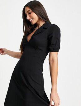 ASOS DESIGN Tall mini tea dress with collar in black