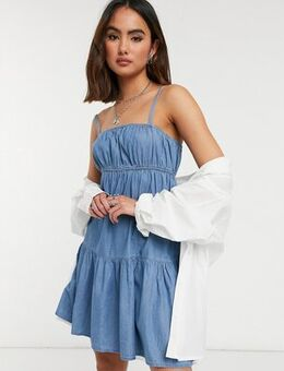 Strappy dress in light wash-Blue