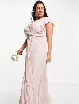 Bridesmaid flutter sleeve ruffle detail maxi dress in mink-Pink