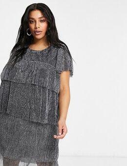 Tiered midi dress in silver