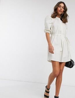 Mini dress with puff sleeves in white