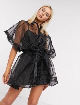 Oversized organza shirt dress in black