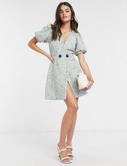 Boucle wrap mini dress with puff sleeves in blue