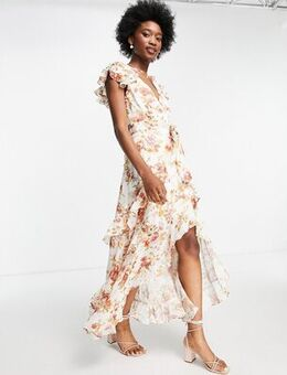 Ruffle maxi dress in antique floral print-Multi
