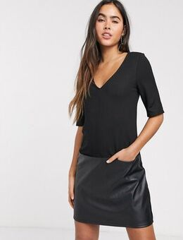 Shift mini dress with leather look hem in black