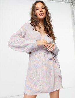 Wrap mini dress in rainbow knit-Multi