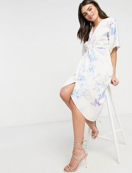 Kimono knot front midi dress in white and blue-Pink