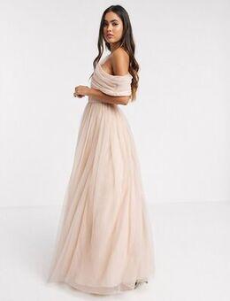 Tulle fallen shoulder maxi dress in light champagne-Beige