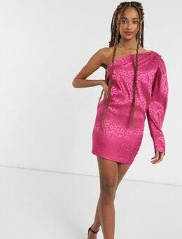 One shoulder puff sleeve mini shift dress in pink leopard-Multi