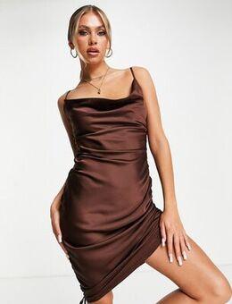 Tie ruching satin mini dress in chocolate-Brown