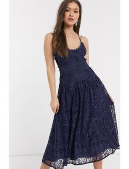 Cami strap midi prom dress in lace with circle trims-Navy