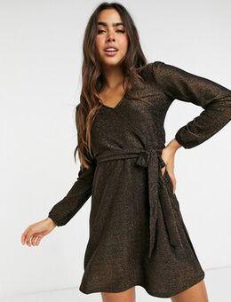 Tie waist mini dress in brown