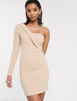 One shoulder tux mini dress-White