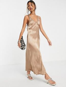 Ruched satin slip dress in gold