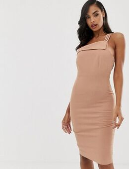 Strappy one shoulder dress in macaroon-Pink