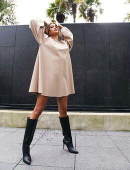 Leather look swing mini dress in stone-Beige
