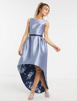 Satin hi low hem dress in blue