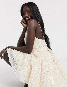 Exclusive feather effect plunge front mini prom skater dress in cream-White