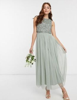 Bridesmaid sleeveless midaxi tulle dress with tonal delicate sequin overlay in sage green