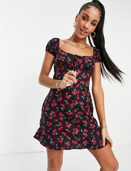 Mini tea dress with ruched bust in cherry print-Black