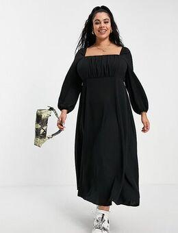 ASOS DESIGN Curve square ruched neck midi dress in black