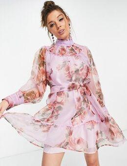 Floral high neck mini dress in lilac-Purple