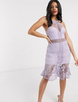 Lace pencil dress in lilac-Purple