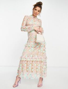 Embellished midaxi dress in mint & apricot-Multi