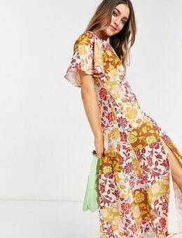 Exclusive fluted sleeve midi dress in contrast floral-Multi