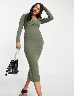 Textured cardi midi dress in khaki-Green