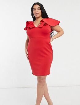 Plunge front midi dress with extreme frill detail in red