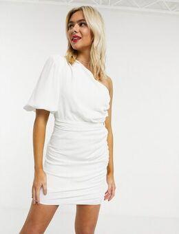 One shoulder puff sleeve mini shift dress in white