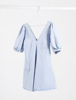 Denim puff sleeve mini skater dress in blue