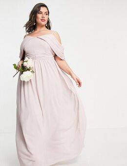Bridesmaid drape shoulder asymmetric maxi dress in mink-Pink