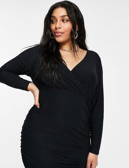New Look Curve wrap mini dress in black