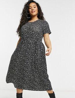 Midi smock dress in smudge spot print-Black