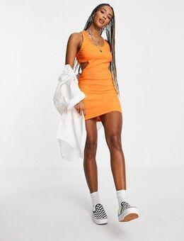 Cut out side detail bodycon dress in orange