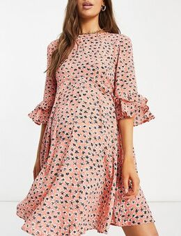 Maternity skater dress in ditsy floral-Red