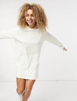 Mini swoosh long sleeve t-shirt dress in off white