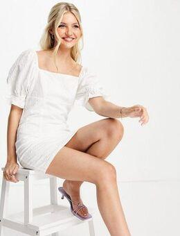 Jacquard square neck mini dress in off white