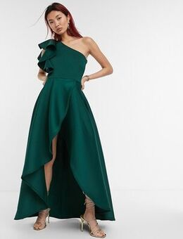 Frill one shoulder high low prom maxi dress in forest green