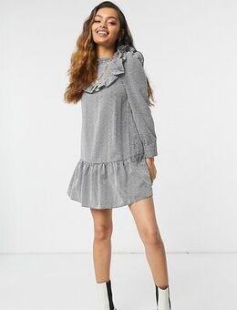 Frill hem mini dress in black check