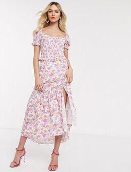 Shirred maxi dress in bright ditsy